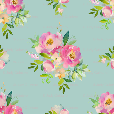 "36"" Pink and Green Florals - Muted Teal"