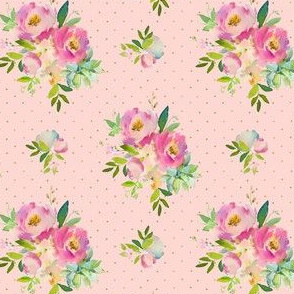 """4"""" Pink and Green Florals - Pink with Polka Dots"""