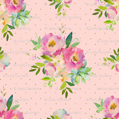 """14"""" Pink and Green Florals - Pink with Polka Dots"""