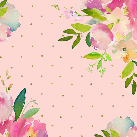 """14"""" Pink and Green Florals - Pink with Polka Dots fabric by shopcabin on Spoonflower - custom fabric"""
