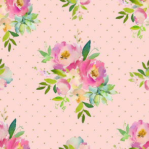 """21"""" Pink and Green Florals - Pink with Polka Dots"""