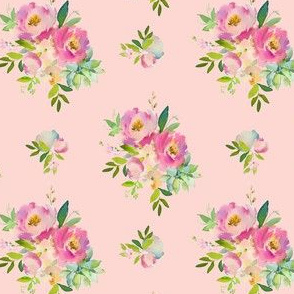 """4"""" Pink and Green Florals - Pink"""