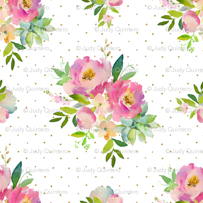 "1.5"" Pink and Green Florals - White with Polka Dots"