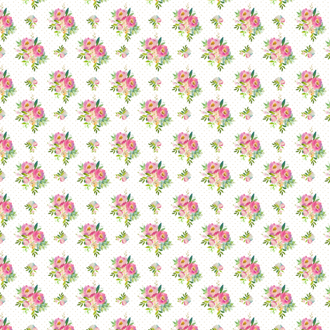 "1.5"" Pink and Green Florals - White with Polka Dots fabric by shopcabin on Spoonflower - custom fabric"