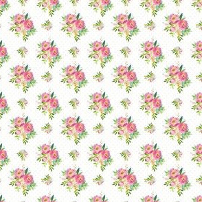 """1.5"""" Pink and Green Florals - White with Polka Dots"""