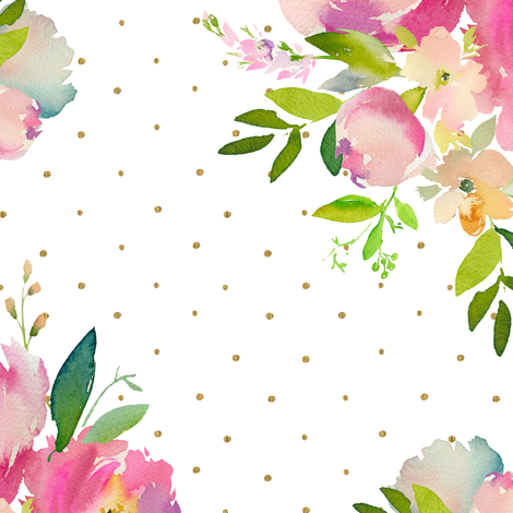 """14"""" Pink and Green Florals - White with Polka Dots fabric by shopcabin on Spoonflower - custom fabric"""