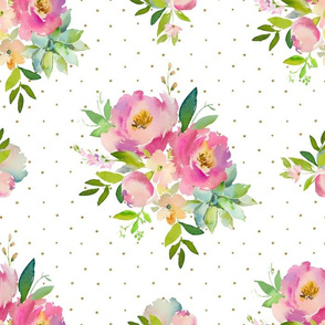 """14"""" Pink and Green Florals - White with Polka Dots"""