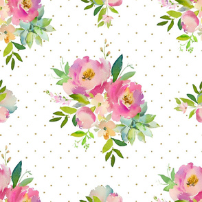 """21"""" Pink and Green Florals - White with Polka Dots"""