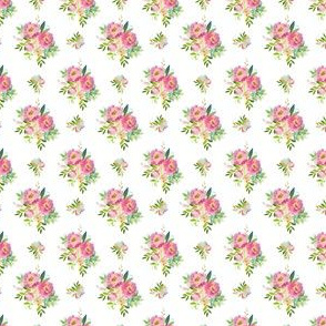 """1.5"""" Pink and Green Florals - White"""