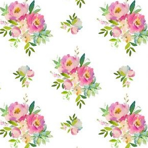 """4"""" Pink and Green Florals - White"""