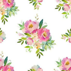 """8"""" Pink and Green Florals - White"""
