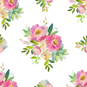 """21"""" Pink and Green Florals - White"""