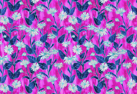 Justina Floral hot pink fabric by schatzibrown on Spoonflower - custom fabric