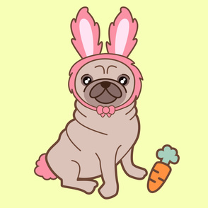 Pug dog in a rabbit costume