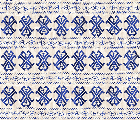 Justina Mark blue and beige fabric by schatzibrown on Spoonflower - custom fabric
