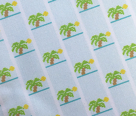 Double-Knit Palm Tree* || polyester jacquard pixel vintage 70s retro groovy children childrens palm tree Hawaii sun summer tropical Hawaii sun beach water trees stripes