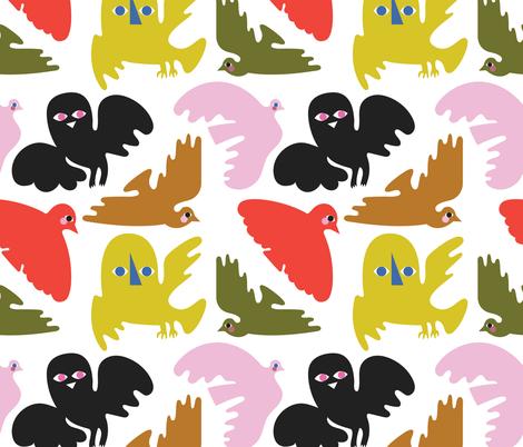 BIRDS fabric by bashfulbirdie on Spoonflower - custom fabric