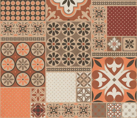 Alhambra rust orange beige Cheater Fake Quilt Wholecloth  fabric by delinda_graphic_studio on Spoonflower - custom fabric