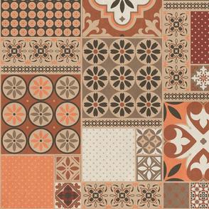 Alhambra rust orange beige Cheater Fake Quilt Wholecloth