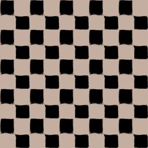 Big Checker Stroke Black on Nude