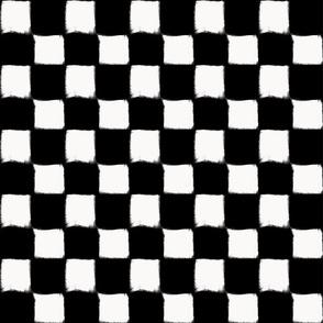 Big Checker Stroke White on Black