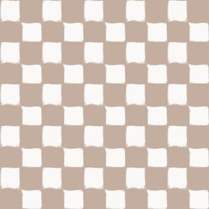 Big Checker Stroke White on Nude