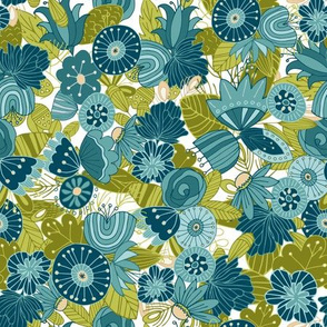 Whimsical Blue and Green Floral