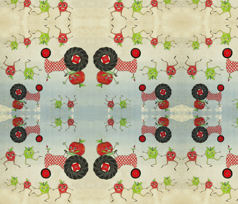 Checkerboard Tractor Rounds fabric by sowgoodgreta on Spoonflower - custom fabric