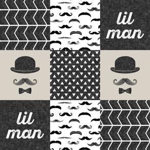 mustache wholecloth - dapper trio beige (lil man)