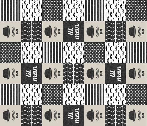 mustache wholecloth - dapper trio beige (lil man) (90) fabric by littlearrowdesign on Spoonflower - custom fabric