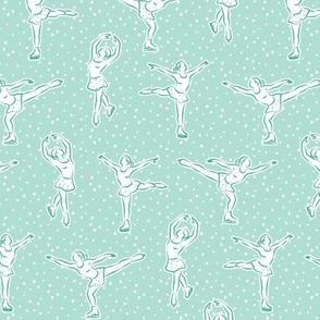 (small scale) figure skating in aqua mint (w/ polka)