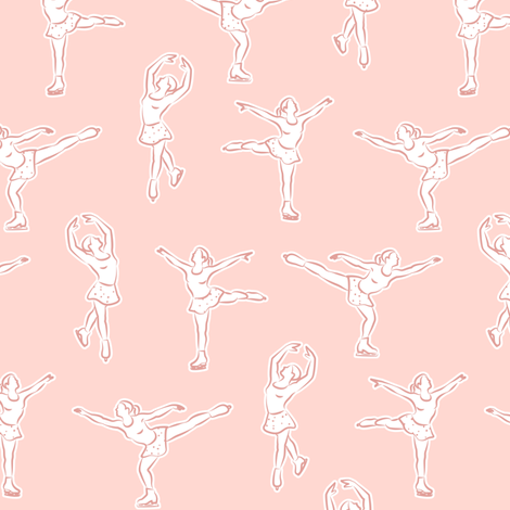 (small scale) Figure skating on pink fabric by littlearrowdesign on Spoonflower - custom fabric