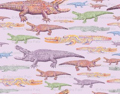 Crocodiles on purple.