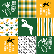 Football//Hustle Hit Never Quit - Packers - Wholecloth Cheater Quilt - Rotated