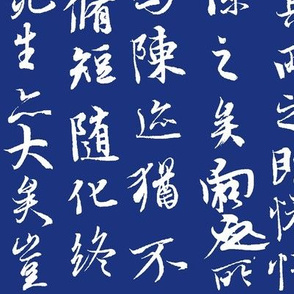Ancient Chinese Calligraphy on Midnight Blue // Large