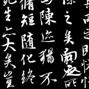Ancient Chinese Calligraphy on Black // Large