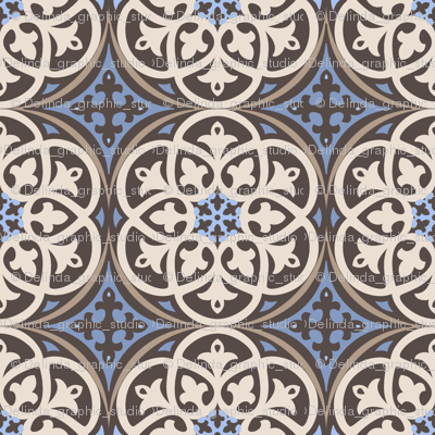 Moroccan Lattice Beige Ivory Cobalt