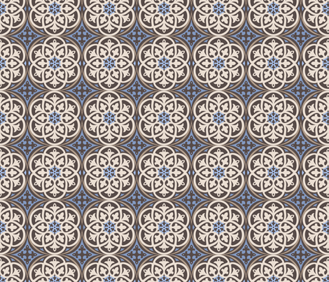 Moroccan Lattice Beige Ivory Cobalt fabric by delinda_graphic_studio on Spoonflower - custom fabric