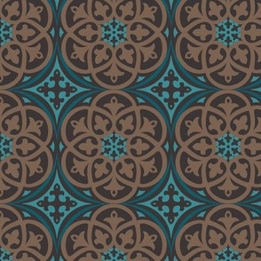 Moroccan Lattice Brown Teal