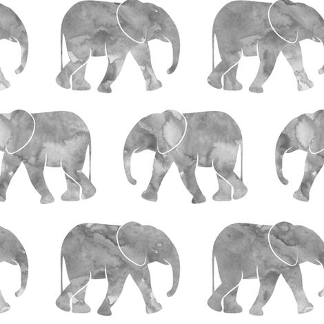 (large scale) baby elephants - grey fabric by littlearrowdesign on Spoonflower - custom fabric