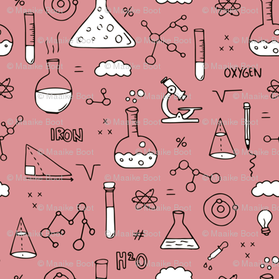 Cool back to school science physics and math class student illustration laboratorium black and white pink SMALL