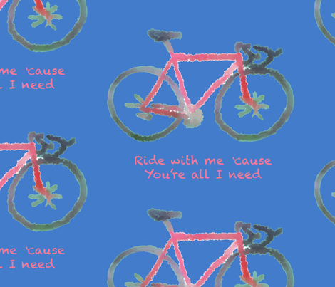 ride with me//red bike on blue, hand drawn, large scale fabric by samantha_woodford on Spoonflower - custom fabric