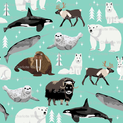 arctic animals (smaller) narwhal polar bear seal whale nature kids nursery fabric teal