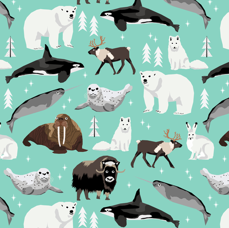 arctic animals (smaller) narwhal polar bear seal whale nature kids nursery fabric teal fabric by charlottewinter on Spoonflower - custom fabric