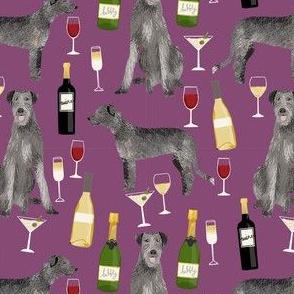 irish wolfhound wine cocktails dog breed fabric purple