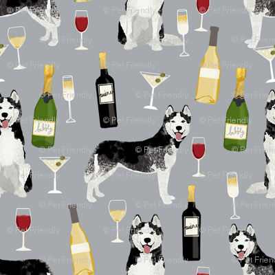 husky wine cocktails dog breed fabric grey