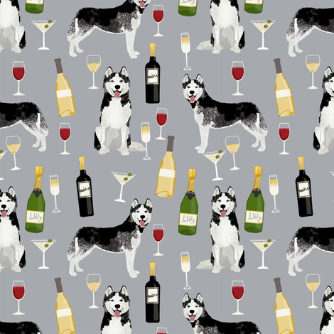 husky wine cocktails dog breed fabric grey fabric by petfriendly on Spoonflower - custom fabric