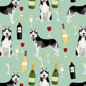 husky wine cocktails dog breed fabric mint