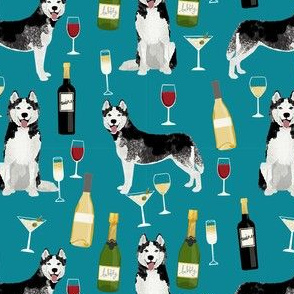 husky wine cocktails dog breed fabric teal