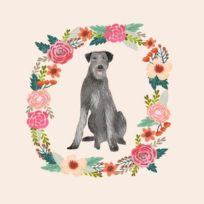 irish wolfhound 8 inch wreath floral beige